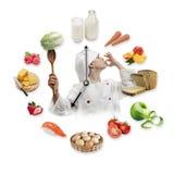 L'orologio ha sistemato dai prodotti alimentari sani e giovane dal ragazzo vestiti immagini stock libere da diritti