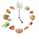 L'orologio ha sistemato dai prodotti alimentari sani isolati sulla parte posteriore di bianco fotografia stock