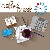L'orologio indica che è tempo di bere il caffè illustrazione di stock