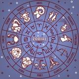 L'oroscopo dello zodiaco firma con le icone di vettore delle date sulla mappa di stella illustrazione di stock
