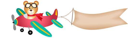 L'orsacchiotto riguarda l'aeroplano con l'insegna illustrazione vettoriale
