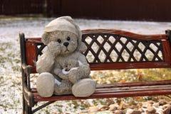 L'orsacchiotto riguarda un banco di sosta fotografie stock libere da diritti