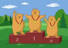 L'orsacchiotto sopporta gli sportsmans, profili Fotografia Stock