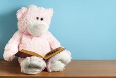 L'orsacchiotto sta leggendo un libro sul fondo blu Concetto di istruzione o di gioco immagine stock libera da diritti