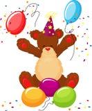 L'orsacchiotto sveglio celebra il compleanno Fotografia Stock