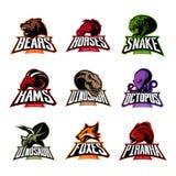 L'orso, cavallo, serpente, ram, volpe, piranha, dinosauro, testa del polipo ha isolato il concetto di logo di vettore Immagine Stock