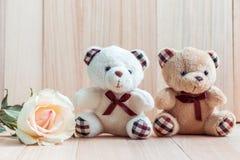 L'orso delle coppie si siede vicino alla rosa del pastello, fondo di legno fotografie stock libere da diritti
