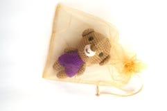 L'orso lavora all'uncinetto la bambola isolata in borsa Immagine Stock