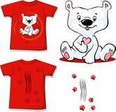 L'orso polare ha stampato sulla camicia rossa - vettore Fotografie Stock