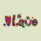 L'orthographe originale de l'amour de mot avec des papillons et des fleurs Image stock