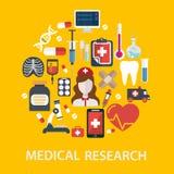 L'ospedale medico e l'ambulanza firma l'illustrazione di vettore di concetto di sanità della composizione Fotografia Stock