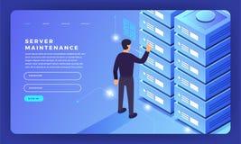 L'ospitalità piana del server di concetto di progetto del sito Web di progettazione del modello informa illustrazione di stock