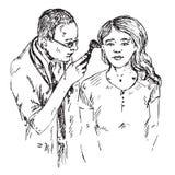 L'oto-rhino-laryngologiste examine l'oreille de la fille, griffonnage tiré par la main, croquis illustration de vecteur
