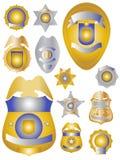 L'ottone e lo stagno dell'oro dodici sorvegliano gli schermi dei distintivi Immagini Stock