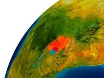 L'Ouganda sur le globe Image libre de droits