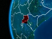 L'Ouganda sur terre la nuit Photo libre de droits