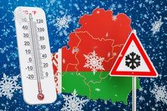 L'ouragan, les tempêtes de neige et l'hiver de neige fulminent dans le concept du Belarus, 3 Photos stock