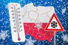 L'ouragan, les tempêtes de neige et l'hiver de neige fulminent dans le concept de la Pologne, 3D Images libres de droits