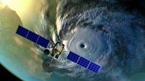 L'ouragan sur le fond, satellite de temps fictif vole au delà, l'animation 3d Toutes les textures ont été créées dans le graphiqu illustration de vecteur
