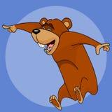 L'ours de bande dessinée montre avec émotion son doigt au côté illustration stock