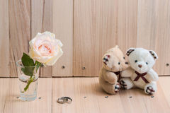 L'ours de couples d'étreinte dans l'amour proposent engagent l'anneau Image stock
