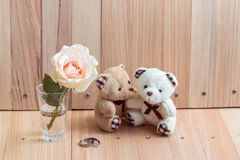 L'ours de couples d'étreinte dans l'amour proposent engagent l'anneau Photographie stock