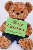 L'ours de nounours jugeant un signe vert lit le Joyeux Noël Photographie stock