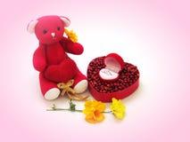 L'ours de nounours rouge reposent la prise le coeur rouge par le côté avec la boîte rouge en forme de coeur, en forme de coeur ro Photographie stock