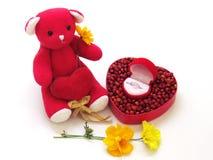 L'ours de nounours rouge reposent la prise le coeur rouge par le côté avec la boîte rouge en forme de coeur, en forme de coeur ro Images libres de droits