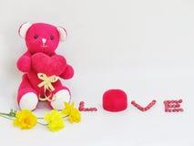 L'ours de nounours rouge reposent la prise que le coeur rouge avec le lettrage d'AMOUR a faite des graines rouges et de la boîte  Images stock