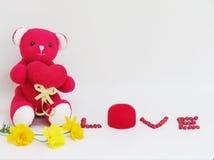 L'ours de nounours rouge reposent la prise que le coeur rouge avec le lettrage d'AMOUR a faite des graines rouges et de la boîte  Photo libre de droits