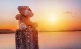 L'ours de nounours se repose sur les kilomètres de poteau photos stock