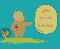 L'ours drôle affiche un message Photographie stock