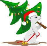 L'ours du nord dans un chapeau de Noël avec des cloches sur un ruban rouge dans sa patte porte un arbre de Noël habillé illustration stock