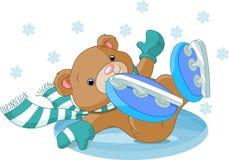 L'ours mignon est tombé à la patinoire Photos libres de droits