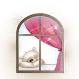 L'ours se repose par la fenêtre et manque Photo stock