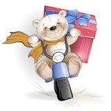 L'ours va avec le cadeau dans la boîte sur la moto Image stock