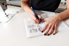 L'ouvrière couturière crée un croquis des sacs image stock