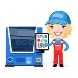 L'ouvrier féminin installe la machine de commande numérique par ordinateur illustration libre de droits