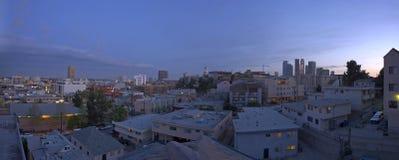 L.A. Panorama dell'orizzonte di sera Fotografie Stock Libere da Diritti
