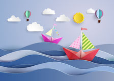 L paper sailing boat and balloon Royalty Free Stock Images