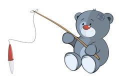 L'petit animal d'ours bourré de jouet le pêcheur cartoon Photos stock