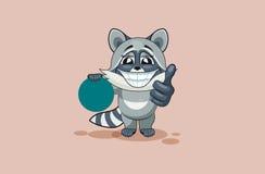 L'petit animal de raton laveur de bande dessinée de caractère d'Emoji d'isolement par illustration de vecteur juge l'émoticône ci Photos libres de droits