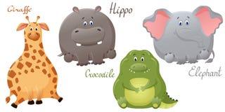 ?l?phant, girafe, crocodile et hippopotame dr?les Placez personnages de dessin animé mignons de vecteur des gros Le concept de la illustration libre de droits