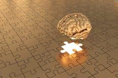 L'or plat absent de cerveau de morceau de puzzle Photographie stock libre de droits