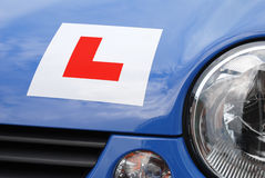 L Plate on car - front view Royalty Free Stock Photos