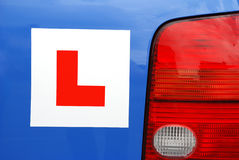 L Plate on car - rear view Stock Images