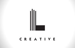 L progettazione di Logo Letter With Black Lines Linea vettore Illust della lettera Fotografia Stock