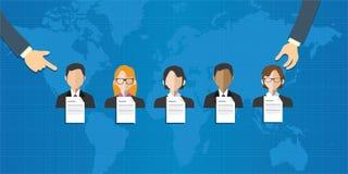 L'équipe spéciale ad hoc sélectionnée de personnes groupent le monde de recrutement de sélection des employés en ligne Image stock