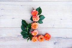 L, roses fleurissent l'alphabet d'isolement sur le fond en bois gris, configuration d'appartement Images stock